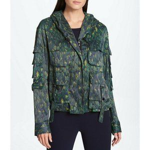 Donna Karan New York Feather Camo Hood Jacket L